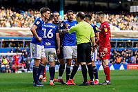 1st February 2020; St Andrews, Birmingham, Midlands, England; English Championship Football, Birmingham City versus Nottingham Forest; Birmingham City players complain to the referee in the 41st minute for awarding a penalty to Nottingham Forest