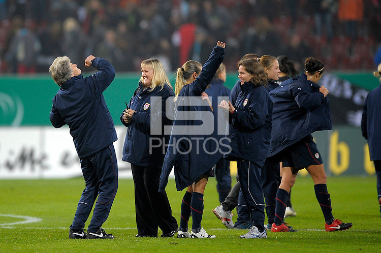 USWNT celebrates. US Women's National Team defeated Germany 1-0 at Impuls Arena in Augsburg, Germany on October 29, 2009.