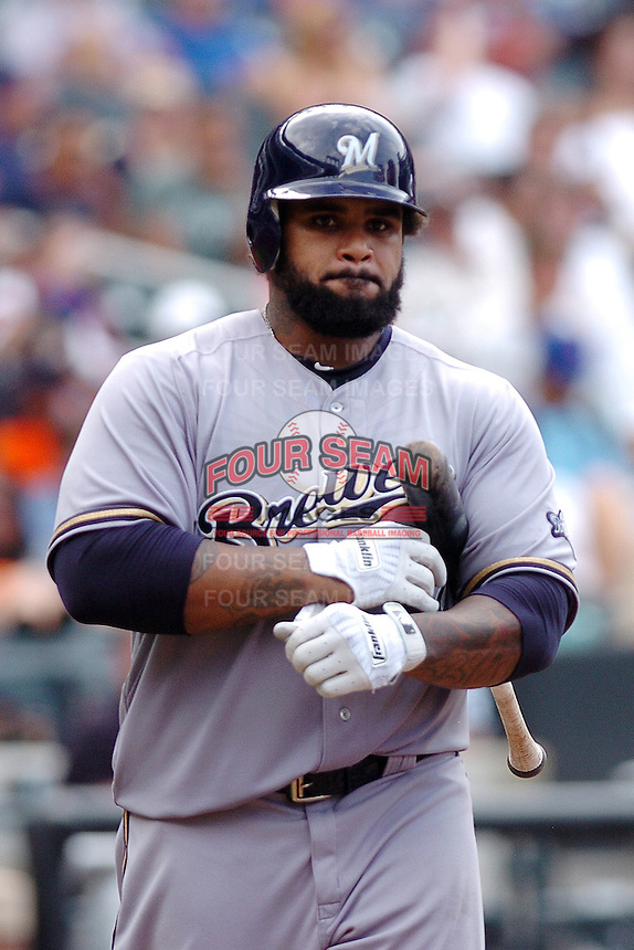 Milwakee Brewers infielder Prince Fielder  #28 during a game against the New York Mets at Citi Field on August 21, 2011 in Queens, NY.  Brewers defeated Mets 6-2.  Tomasso DeRosa/Four Seam Images