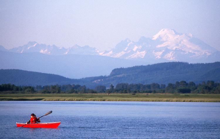 Pacific Northwest, Mount Baker, Woman sea kayaker, Skagit Bay, Skagit River estuary, Puget Sound, Washington State, USA, Sarah Shannon,