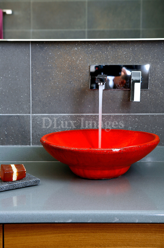 modern red bathroom sink