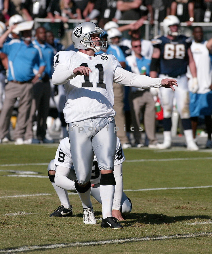 SEBASTIAN JANIKOWSKI, of the Oakland Raiders  in action against the San Diego Chargers  during the Raiders game in Chicago, IL  on September 28, 2008... The Chargers won the game 28-18