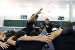 WINSTON-SALEM, NC - JANUARY 23: Wake Forest's Skander Mansouri (TUN) rallies his team before the match. The Wake Forest University Demon Deacons hosted Coastal Carolina University on January 23, 2018 at Wake Forest Tennis Complex in Winston-Salem, NC in a Division I College Men's Tennis match. Wake Forest won the match 6-1.