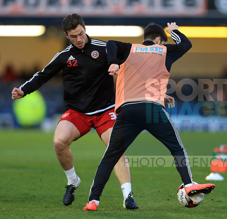 Sheffield United's Harrison McGahey warms up before the League One match at Roots Hall Stadium.  Photo credit should read: David Klein/Sportimage