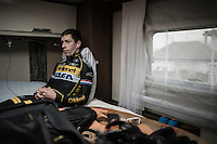 Lars van der Haar (NED/Telenet-Fidea) preparing in his camper pre-race<br /> <br /> CX Superprestige Noordzeecross <br /> Middelkerke / Belgium 2017