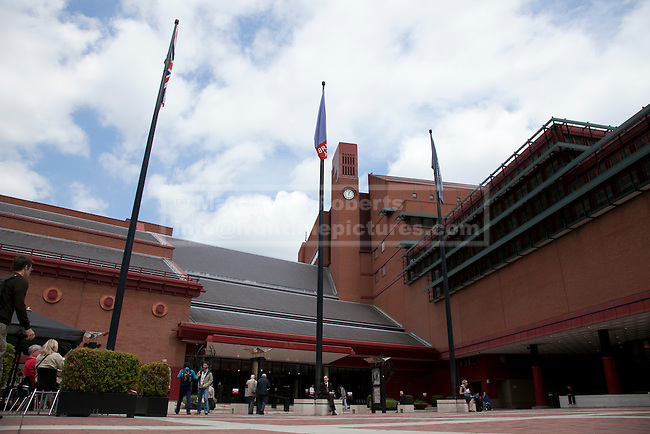 Stock images of the exterior of the British Library.