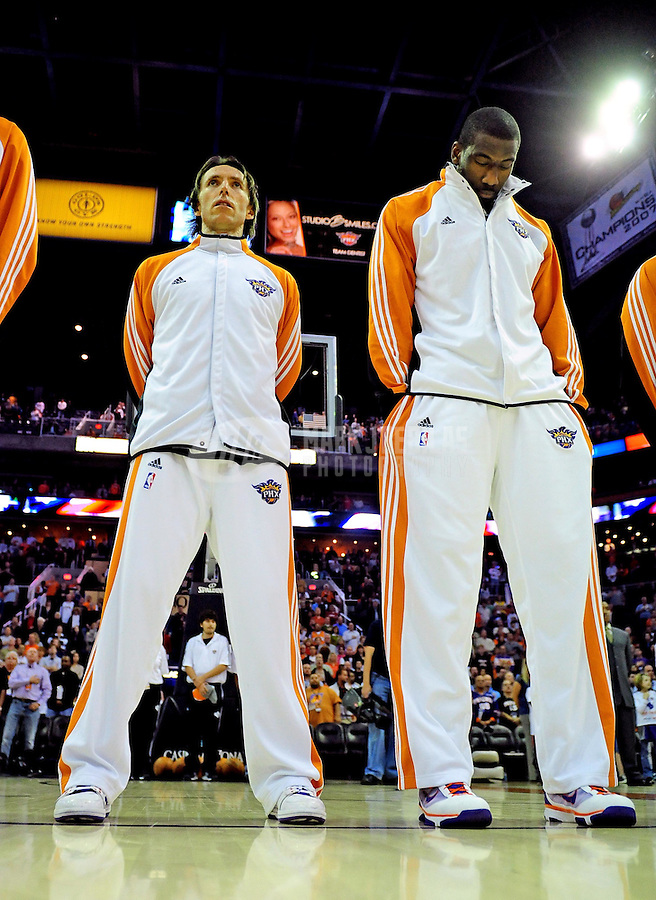 Jan. 11, 2010; Phoenix, AZ, USA; Phoenix Suns guard Steve Nash (left) and forward Amare Stoudemire prior to the game against Milwaukee Bucks at the US Airways Center. The Suns defeated the Bucks 105-101. Mandatory Credit: Mark J. Rebilas-