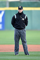 Field umpire Brian De Brauwere during a game between the Louisville Bats and Buffalo Bisons on April 29, 2014 at Coca-Cola Field in Buffalo, New  York.  Buffalo defeated Louisville 4-1.  (Mike Janes/Four Seam Images)