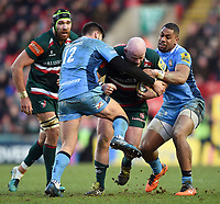 Dan Cole of Leicester Tigers takes on the London Irish defence. Aviva Premiership match, between Leicester Tigers and London Irish on January 6, 2018 at Welford Road in Leicester, England. Photo by: Patrick Khachfe / JMP