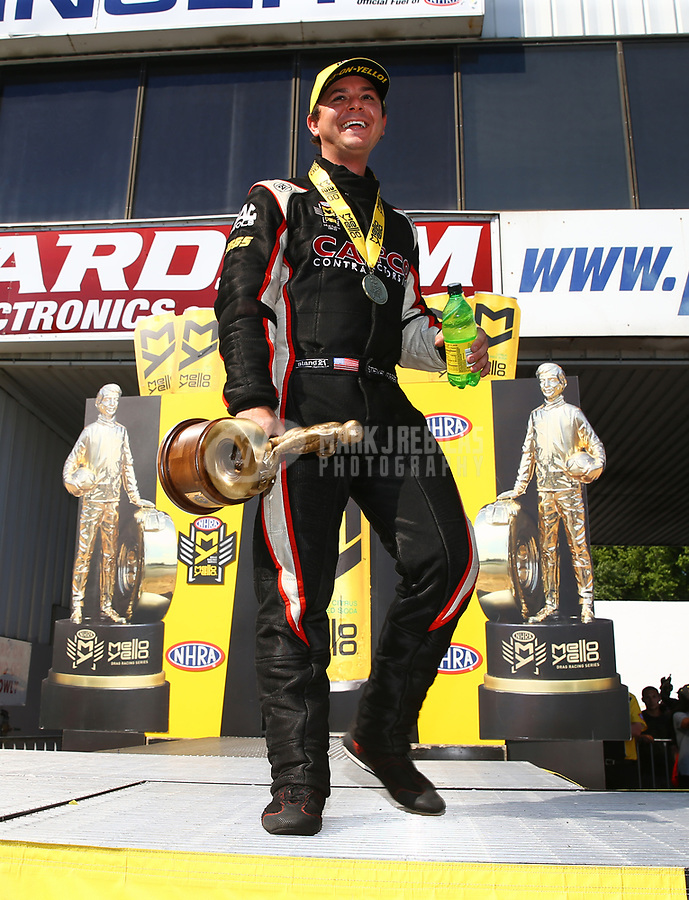Jun 11, 2017; Englishtown , NJ, USA; NHRA top fuel driver Steve Torrence celebrates after winning the Summernationals at Old Bridge Township Raceway Park. Mandatory Credit: Mark J. Rebilas-USA TODAY Sports