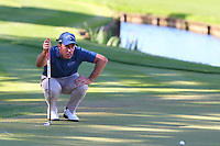 Nino Bertasio eyes up his putt on the 18th green during the BMW PGA Golf Championship at Wentworth Golf Course, Wentworth Drive, Virginia Water, England on 26 May 2017. Photo by Steve McCarthy/PRiME Media Images.