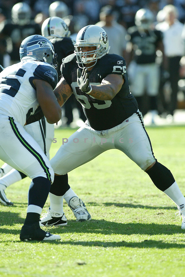 KHALIF BARNES, of the Oakland Raiders, in action during the Raiders  game against the Seattle Seahawks on October 31, 2010 at Oakland-Alameda County Coliseum in Oakland, California.  .The Raiders beat the Seahawks 33-3...