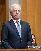 United States Senator Bob Corker (Republican of Tennessee), Chairman, US Senate Committee on Foreign Relations, stands as he listens to CIA Director Mike Pompeo testifying on his nomination to be US Secretary of State before the committee on Capitol Hill in Washington, DC on Thursday, April 12, 2018.<br /> Credit: Ron Sachs / CNP