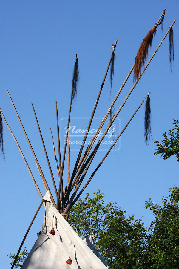 Top of a Native American Indian tipi with support poles
