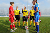 20200126 - OOSTAKKER , BELGIUM : The toss  pictured before the semi final of Belgian cup 2020 , a womensoccer game between KAA Gent Ladies and Standard Femina de Liege  , at the PGB stadion in Oostakker , sunday 26 th January 2020 . PHOTO SPORTPIX.BE | STIJN AUDOOREN