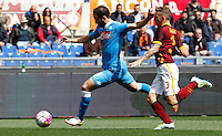 Calcio, Serie A: Roma vs Napoli. Roma, stadio Olimpico, 25 aprile 2016.<br /> Napoli's Gonzalo Higuain, left, is challenged by Roma's Lucas Digne during the Italian Serie A football match between Roma and Napoli at Rome's Olympic stadium, 25 April 2016.<br /> UPDATE IMAGES PRESS/Riccardo De Luca
