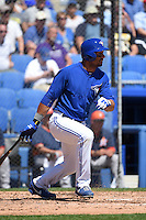 Toronto Blue Jays outfielder Chris Dickerson (33) during a Spring Training game against the Houston Astros on March 9, 2015 at Florida Auto Exchange Stadium in Dunedin, Florida.  Houston defeated Toronto 1-0.  (Mike Janes/Four Seam Images)