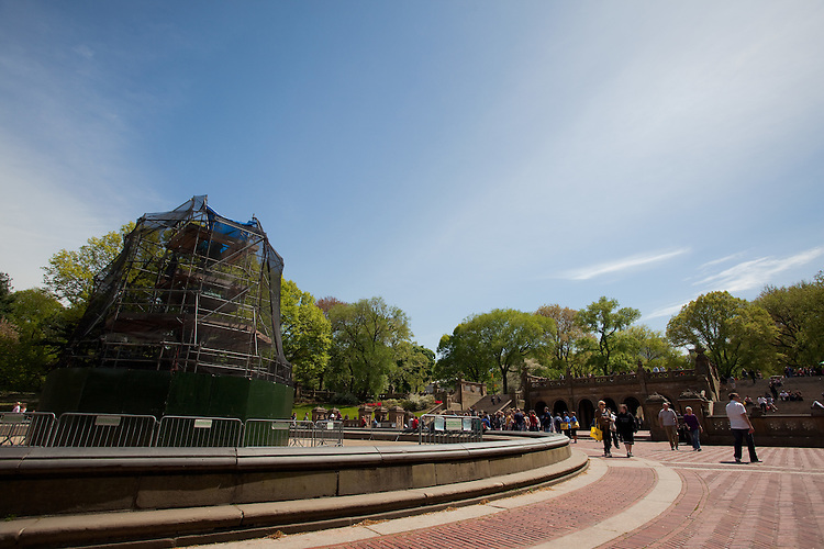 Bethesda Fountain under construction in Central Park