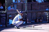 SAN FRANCISCO, CA - Rickey Henderson of the San Diego Padres waits in the on deck circle during a game against the San Francisco Giants at Pacific Bell Park in San Francisco, California in 2001. Photo by Brad Mangin