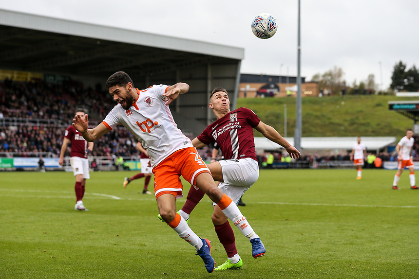 Blackpool's Kelvin Mellor competing with Northampton Town's Billy Waters<br /> <br /> Photographer Andrew Kearns/CameraSport<br /> <br /> The EFL Sky Bet League One - Northampton Town v Blackpool - Saturday 28th October 2017 - Sixfields Stadium - Northampton<br /> <br /> World Copyright &copy; 2017 CameraSport. All rights reserved. 43 Linden Ave. Countesthorpe. Leicester. England. LE8 5PG - Tel: +44 (0) 116 277 4147 - admin@camerasport.com - www.camerasport.com