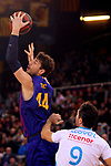 League ACB-ENDESA 2018/2019. Game: 14.<br /> FC Barcelona Lassa vs Monbus Obradoiro: 79-73.<br /> Ante Tomic vs Nacho Llovet.