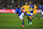 June 13th 2017, Melbourne Cricket Ground, Melbourne, Australia; International Football Friendly; Brazil versus Australia; Alex Sandro Silva of Brazil and Mathew Leckie of Australia compete for the loose ball