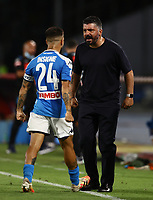 5th July 2020; Stadio San Paolo, Naples, Campania, Italy; Serie A Football, Napoli versus Roma; Lorenzo Insigne of Napoli celebrates after scoring for 2-1 with manager Gatuso in the 80th minute