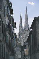 The twin towers of the Cathedral of Sainte Marie loom over the narrow alleys of central Bayonne. The previous building was destroyed by lightning and the ensuing fire in 1258 and the present gothic structure was then built over the next 200 years. Inside, the symbol of the three lions is a reminder of the English occupation of the town in the Middle Ages.