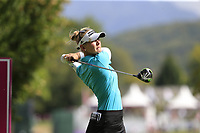 Jesica Korda (USA) tees off the 7th tee during Thursday's Round 1 of The Evian Championship 2018, held at the Evian Resort Golf Club, Evian-les-Bains, France. 13th September 2018.<br /> Picture: Eoin Clarke | Golffile<br /> <br /> <br /> All photos usage must carry mandatory copyright credit (&copy; Golffile | Eoin Clarke)