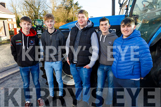 Evan Murphy, Liam Fleming, Conor Crowley, Cian O'Sullivan and Dara Tagney at the James Ashe Memorial Tractor Run in Boolteens on Sunday.