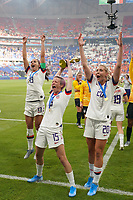 LYON, FRANCE - JULY 07: Alex Morgan #13, Megan Rapinoe #15, Allie Long #20 after the 2019 FIFA Women's World Cup France final match between the Netherlands and the United States at Stade de Lyon on July 07, 2019 in Lyon, France.