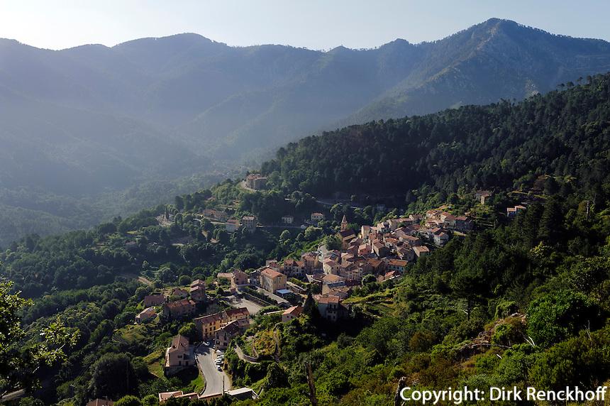 Blick auf Vizzanova, Korsika, Frankreich