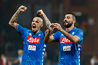 10th November 2018, Stadio Luigi Ferraris, Genoa, Italy; Serie A football, Genoa versus Napoli; <br /> Marek Hamsik of Napoli , Raul Albiol of Napoli ,    celebrate at the end of the game