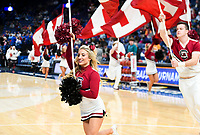 NWA Democrat-Gazette/CHARLIE KAIJO Arkansas Razorbacks cheerleaders raise flags during the Southeastern Conference Men's Basketball Tournament, Thursday, March 8, 2018 at Scottrade Center in St. Louis, Mo.