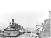 D&amp;RGW #478 K-28 with plow on pilot pulling passenger consist at Durango station.<br /> D&amp;RGW  Durango, CO  9/1950