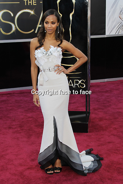 Zoe Saldana (in Alexis Mabille Couture) arriving to the 85th Academy Awards at the Hollywood and Highland Center in Hollywood, California. February 24, 2013. ..Credit: MediaPunch/face to face..- Germany, Austria, Switzerland, Eastern Europe, Australia, UK, USA, Taiwan, Singapore, China, Malaysia and Thailand rights only -