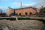 Roman stadium and mosque in the  city centre of Plovdiv, Bulgaria