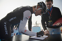 Fabian Cancellara (CHE/TrekFactoryRacing) signing in<br /> <br /> 57th E3 Harelbeke 2014