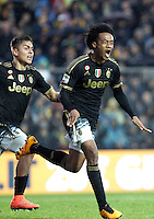 Calcio, Serie A: Frosinone vs Juventus. Frosinone, stadio Comunale, 7 febbraio 2016.<br /> Juventus&rsquo; Juan Cuadrado celebrates with teammate Paulo Dybala, left, after scoring during the Italian Serie A football match between Frosinone and Juventus at Frosinone's Comunale stadium, 7 January 2016.<br /> UPDATE IMAGES PRESS/Isabella Bonotto