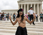 "Sister Leona from New York, New York, representing ""Radical Matriarchy"" participates in the anti-Kavanagh protests outside the the United States Supreme Court in Washington, DC as the US Senators continue their floor statements across the street inside the US Capitol on Saturday, October 6, 2018. <br /> Credit: Ron Sachs / CNP<br /> RESTRICTION: NO New York or New Jersey Newspapers or newspapers within a 75 mile radius of New York City)"