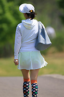 Colourful spectator in action during the third round of the Volvo China Open played at Topwin Golf and Country Club, Huairou, Beijing, China 26-29 April 2018.<br /> 28/04/2018.<br /> Picture: Golffile | Phil Inglis<br /> <br /> <br /> All photo usage must carry mandatory copyright credit (&copy; Golffile | Phil Inglis)