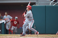 Patrick Bailey (5) of the North Carolina State Wolfpack follows through on his second home run of the game against the Northeastern Huskies at Doak Field at Dail Park on June 2, 2018 in Raleigh, North Carolina. The Wolfpack defeated the Huskies 9-2. (Brian Westerholt/Four Seam Images)