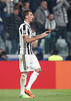 Football Soccer: UEFA Champions League Juventus vs Sporting Clube de Portugal, Allianz Stadium. Turin, Italy, October 18, 2017. <br /> Juventus' Mario Mandzukic celebrates after scoring during the Uefa Champions League football soccer match between Juventus and Sporting Clube de Portugal at Allianz Stadium in Turin, October 18, 2017.<br /> UPDATE IMAGES PRESS/Isabella Bonotto