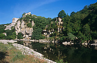 A view of the Ardeche river which flows beneath the chateau