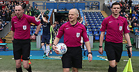 Todays match Officials lead the teams out at the start of todays match<br /> <br /> Photographer Rachel Holborn/CameraSport<br /> <br /> The EFL Sky Bet League One - Blackburn Rovers v Southend United - Saturday 7th April 2018 - Ewood Park - Blackburn<br /> <br /> World Copyright &copy; 2018 CameraSport. All rights reserved. 43 Linden Ave. Countesthorpe. Leicester. England. LE8 5PG - Tel: +44 (0) 116 277 4147 - admin@camerasport.com - www.camerasport.com