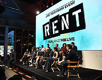 "RENT: JAN 15, 2019: (Top Row) Mario, Brandon Victor Dixon, Valentina,  Executive Producer Adam Siegel, Executive Producer Julie Larson, Director Michael Greif and (Bottom Row) Tinashe, Brennin Hunt, Kiersey Clemons, Jordan Fisher, Vanessa Hudgens, and moderator Thomas Sanders attend FOX'S ""RENT"" Sing-Along YouTube Event at the YouTube Space on January 15, 2019, in Los Angeles, California. (Photo by Frank Micelotta/Fox/PictureGroup)"