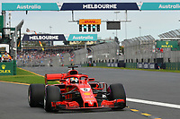 March 24, 2018: Sebastian Vettel (DEU) #5 from the Scuderia Ferrari team leaves the pit for his qualifying lap at the 2018 Australian Formula One Grand Prix at Albert Park, Melbourne, Australia. Photo Sydney Low