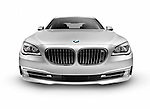 Silver 2015 BMW 7 series 750Li Individual luxury car front view isolated on white background with clipping path