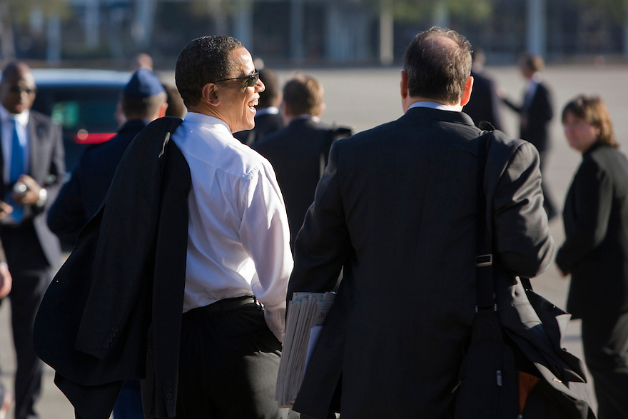 President Barack Obama walks with White House Senior Adviser David Axelrod after speaking at a town hall style meeting at the Orange County Fairgrounds in Costa Mesa, Calif.,..Photo by Brooks Kraft/Corbis......................