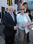 Eithne Doggett pictured with President Michael D Higgins at the unveiling of the plaque to seaman Michael Quinn. Photo: Colin Bell/pressphotos.ie